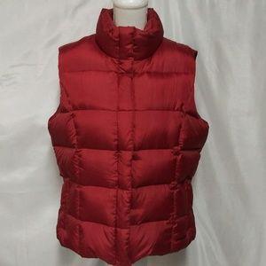 Eddie Bauer Red Goose Down Zipper Front Vest